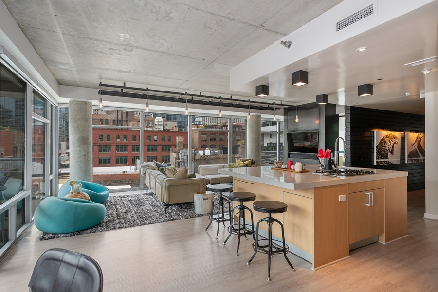 Real Estate Photography - 201 W Grand, #602, Chicago, IL, 60654 - Kitchen / Living Room