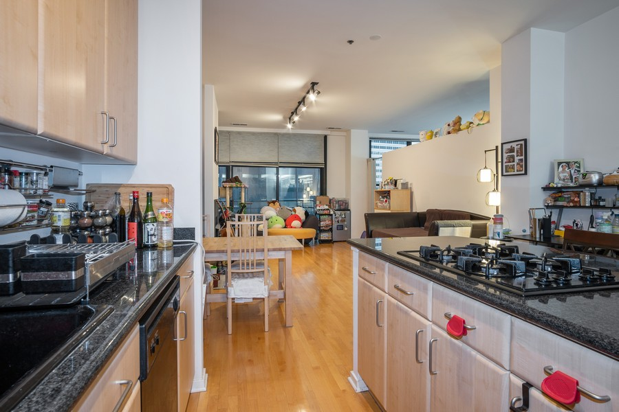 Real Estate Photography - 130 S. Canal St., #816, Chicago, IL, 60606 - Kitchen / Living Room