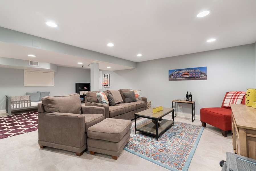 Real Estate Photography - 832 Leyden Ln, Wilmette, IL, 60091 - Lower Level Rec Room