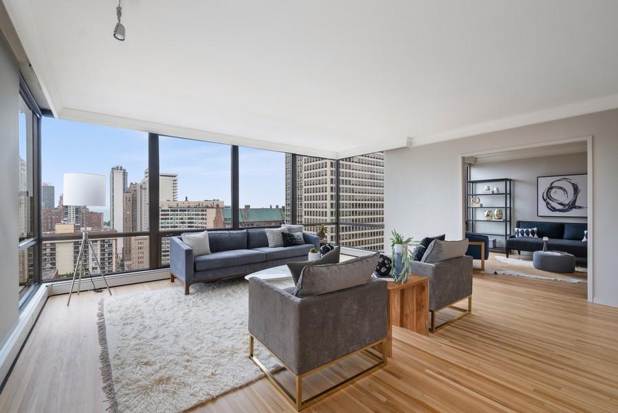 Real Estate Photography - 100 E Bellevue, Apt 25E, Chicago, IL, 60611 - Living Room