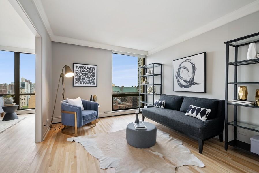 Real Estate Photography - 100 E Bellevue, Apt 25E, Chicago, IL, 60611 - Den/3rd Bedroom