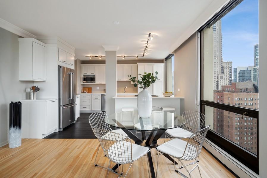 Real Estate Photography - 100 E Bellevue, Apt 25E, Chicago, IL, 60611 - Kitchen/Dining
