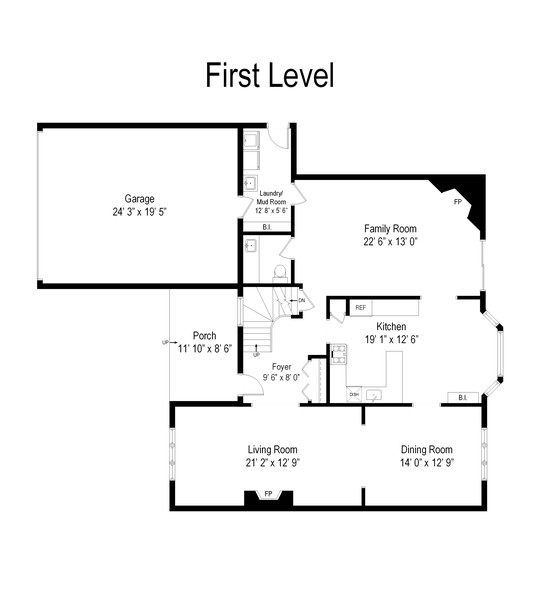 Real Estate Photography - 552 Hunter, Wilmette, IL, 60091 - Floor Plan - First Level