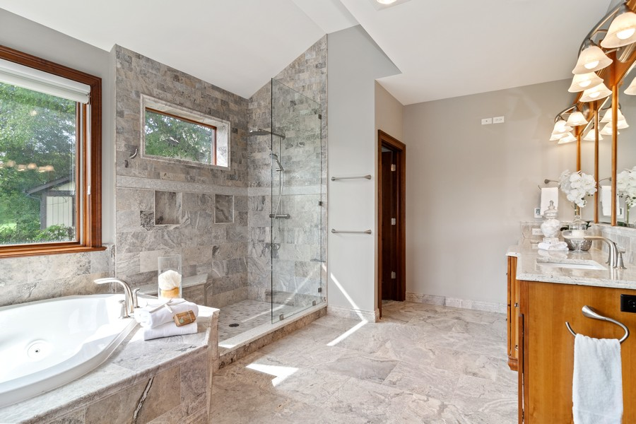 Real Estate Photography - 1335 Calcutta Ln, Naperville, IL, 60563 - 1st Floor Master Bathroom