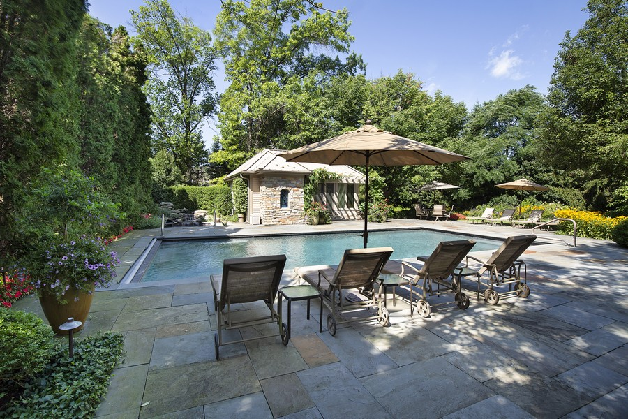 Real Estate Photography - 2350 White Oak Drive, Northbrook, IL, 60062 - Outdoor Pool w/ Blue Slate Patio and Cabana House
