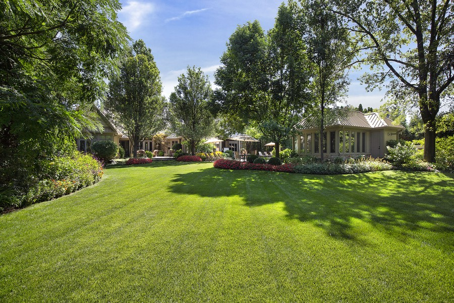 Real Estate Photography - 2350 White Oak Drive, Northbrook, IL, 60062 - Back Yard Facing Home and Cabana