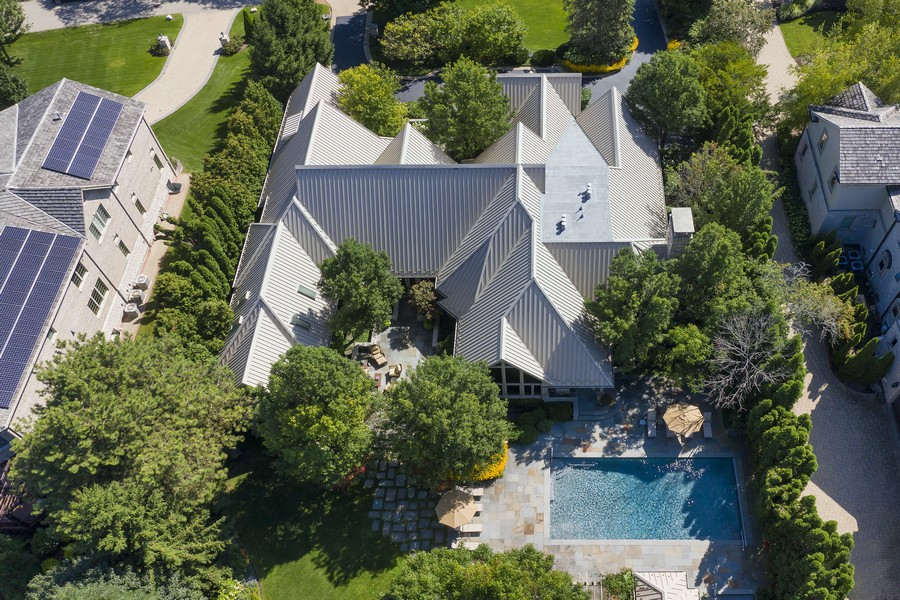 Real Estate Photography - 2350 White Oak Drive, Northbrook, IL, 60062 - Aerial View of Pool and Home