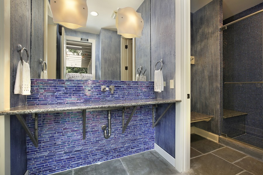 Real Estate Photography - 2350 White Oak Drive, Northbrook, IL, 60062 - Cabana Bathroom with Shower and Changing Room