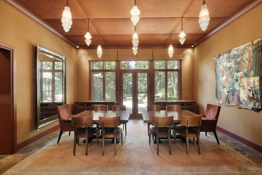 Real Estate Photography - 2350 White Oak Drive, Northbrook, IL, 60062 - Banquet Size Dining Room with Custom Lighting