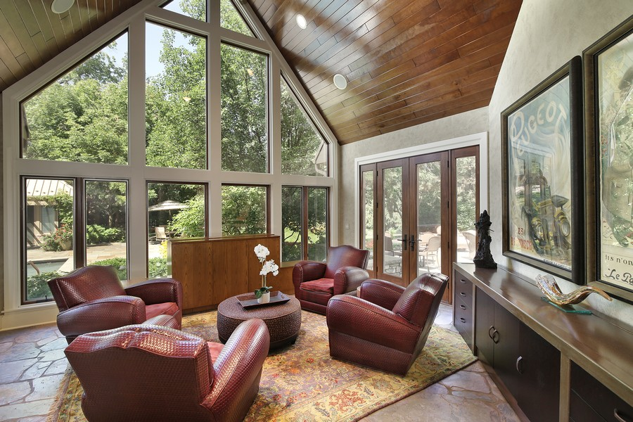 Real Estate Photography - 2350 White Oak Drive, Northbrook, IL, 60062 - Sun Room/Family Room Surrounded by Windows
