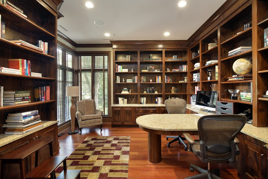 Real Estate Photography - 2350 White Oak Drive, Northbrook, IL, 60062 - Study with French Doors and Built in Shelving