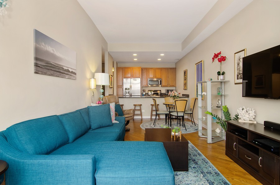 Real Estate Photography - 2317 W. Wolfram #513, Chicago, IL, 60618 - Kitchen / Living Room