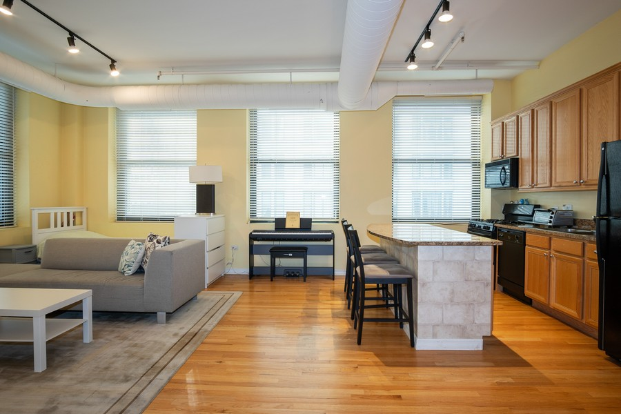 Real Estate Photography - 6 E Monroe, 602, Chicago, IL, 60603 - Kitchen/Living