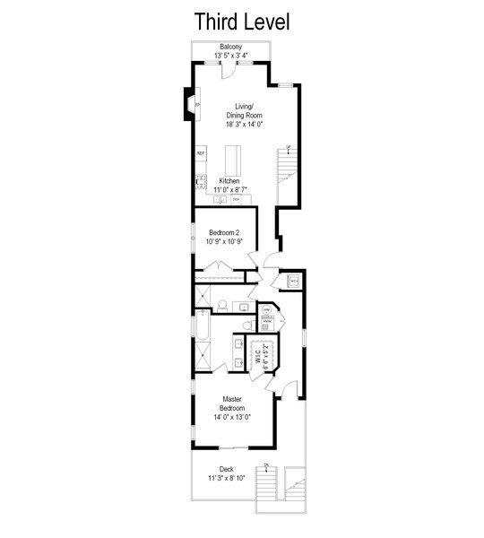 Real Estate Photography - 1505 W. Walton, #3, Chicago, IL, 60622 - Floor Plan