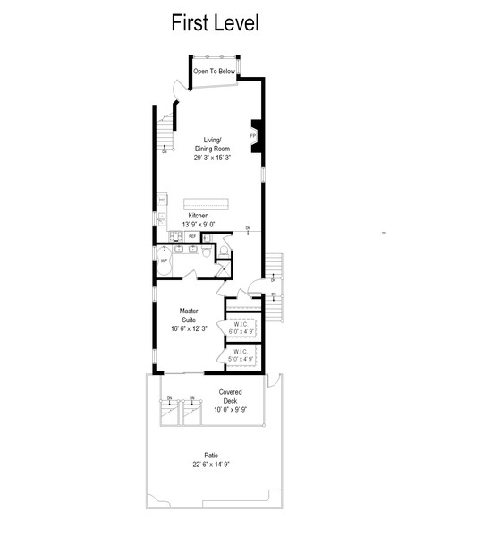 Real Estate Photography - 906 N Hermitage, Unit 1, Chicago, IL, 60642 - Floor Plan