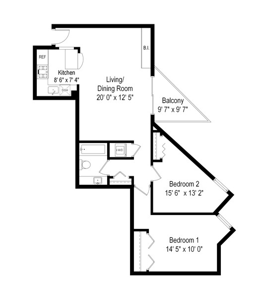 Real Estate Photography - 2140 N Lincoln Ave, 5305, Chicago, IL, 60614 - Floor Plan