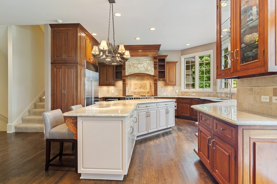 Real Estate Photography - 4 Kensington Drive, North Barrington, IL, 60010 - Kitchen with Rear Stairway
