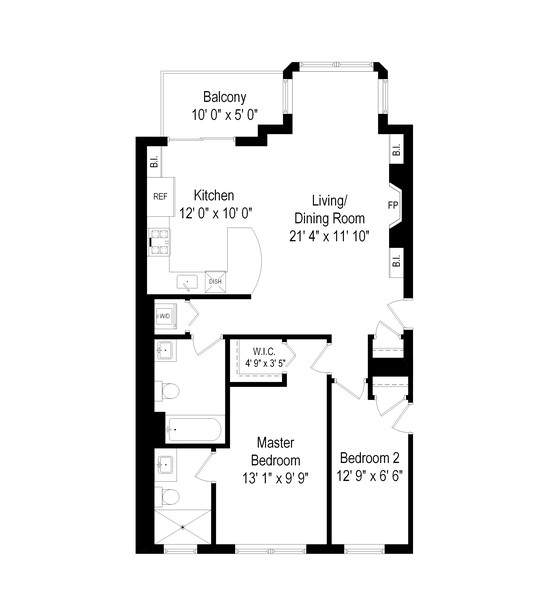 Real Estate Photography - 2711 Mildred Ave, #1B, Chicago, IL, 60614 - Floor Plan