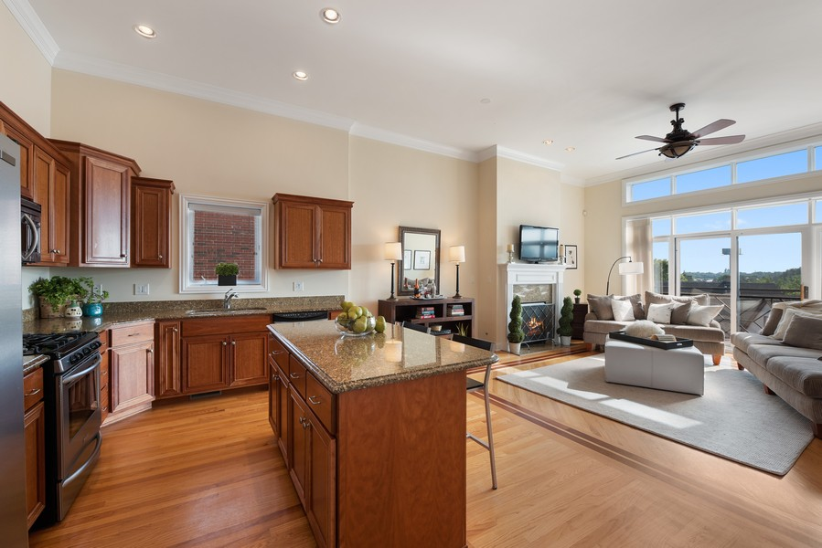 Real Estate Photography - 3721 N Elston Ave, Unit 4S, Chicago, IL, 60618 - Kitchen / Living Room
