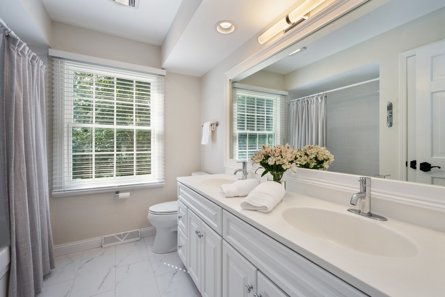 Real Estate Photography - 415 Westwood Drive, Barrington, IL, 60010 - Hallway Bathroom