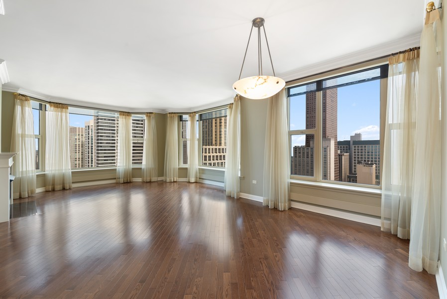 Real Estate Photography - 25 E Superior St, Unit 3605, Chicago, IL, 60611 - Living Room/Dining Room