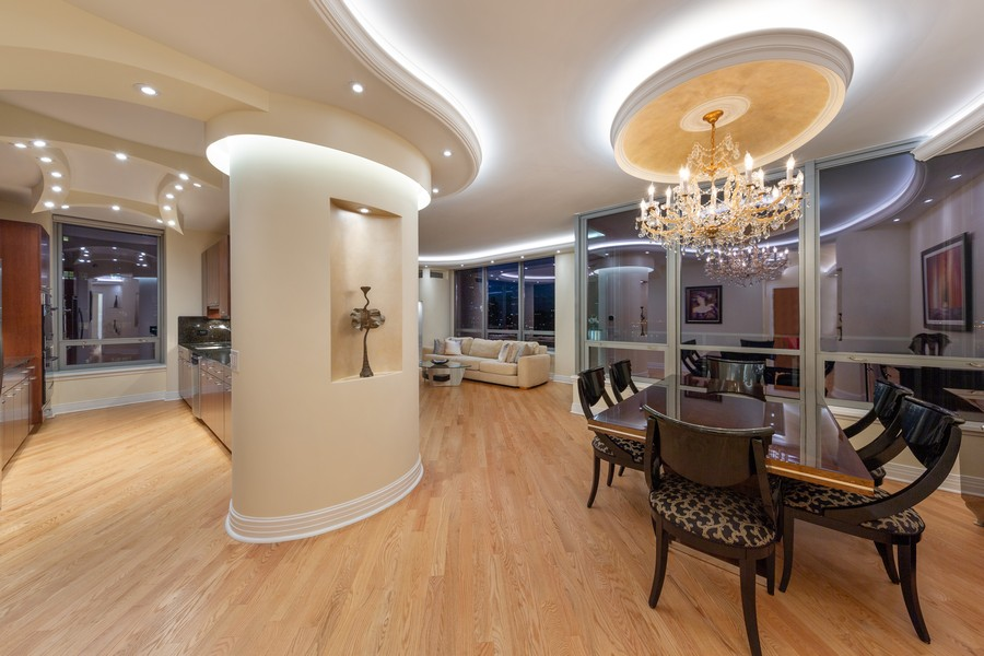 Real Estate Photography - 600 N Lake Shore Dr, Unit 3501, Chicago, IL, 60611 - Kitchen / Dining Room