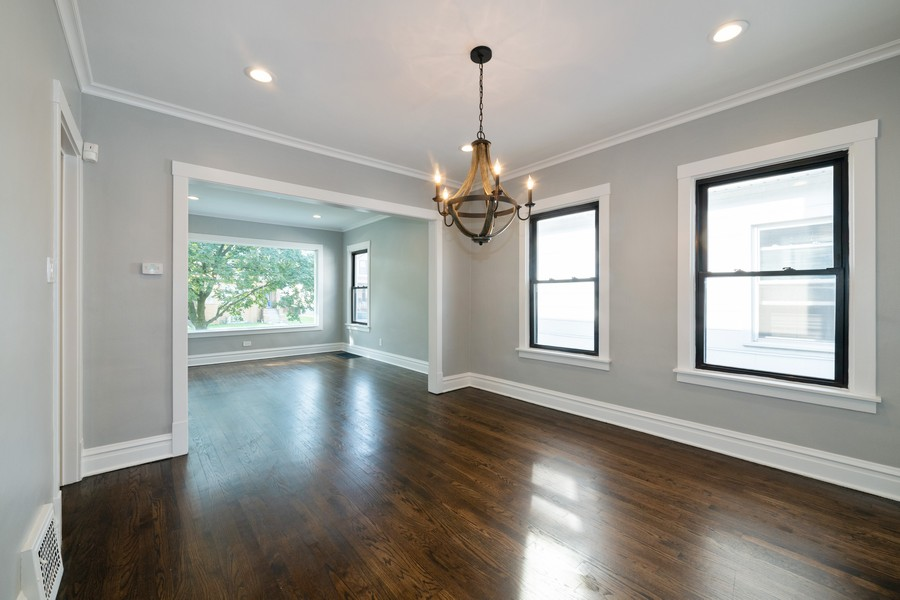 Real Estate Photography - 6320 W Warwick, Chicago, IL, 60634 - Living Room/Dining Room