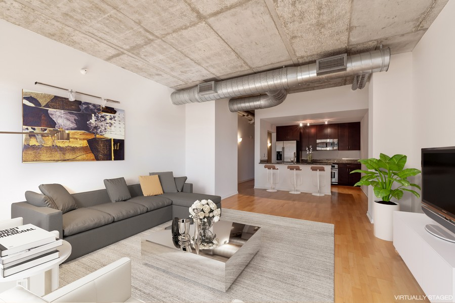 Real Estate Photography - 807 Davis Street, 504, Evanston, IL, 60201 - Living Room/Kitchen