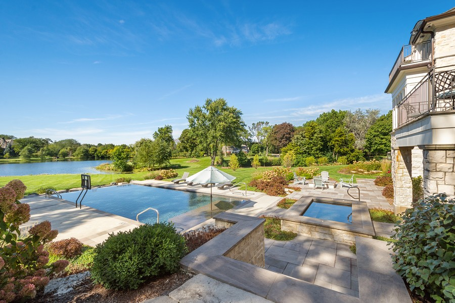 Real Estate Photography - 84 Dundee Ln, Barrington Hills, IL, 60010 - Rear Yard with Patio, Pool & Lake Views