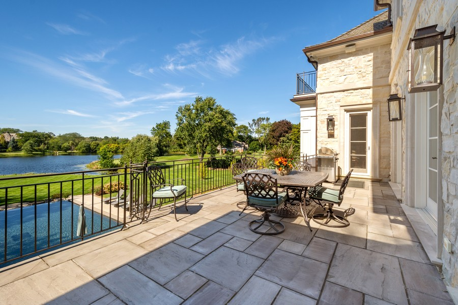 Real Estate Photography - 84 Dundee Ln, Barrington Hills, IL, 60010 - Pool & Water Views from Terrace