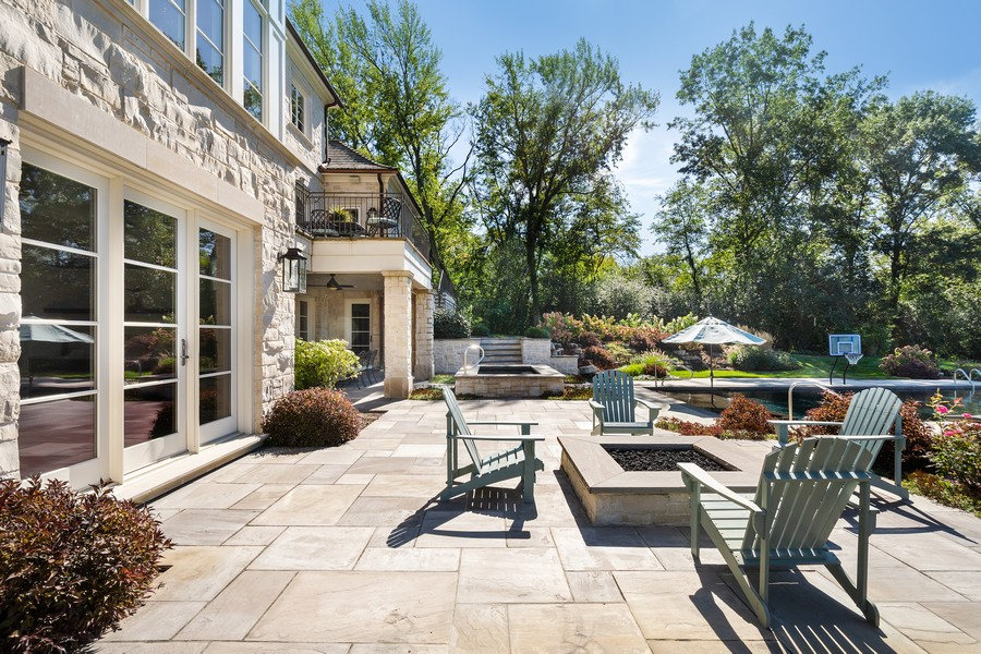 Real Estate Photography - 84 Dundee Ln, Barrington Hills, IL, 60010 - Patio with Fire Pit & Spa