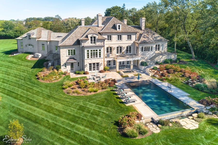 Real Estate Photography - 84 Dundee Ln, Barrington Hills, IL, 60010 - Rear Aerial View