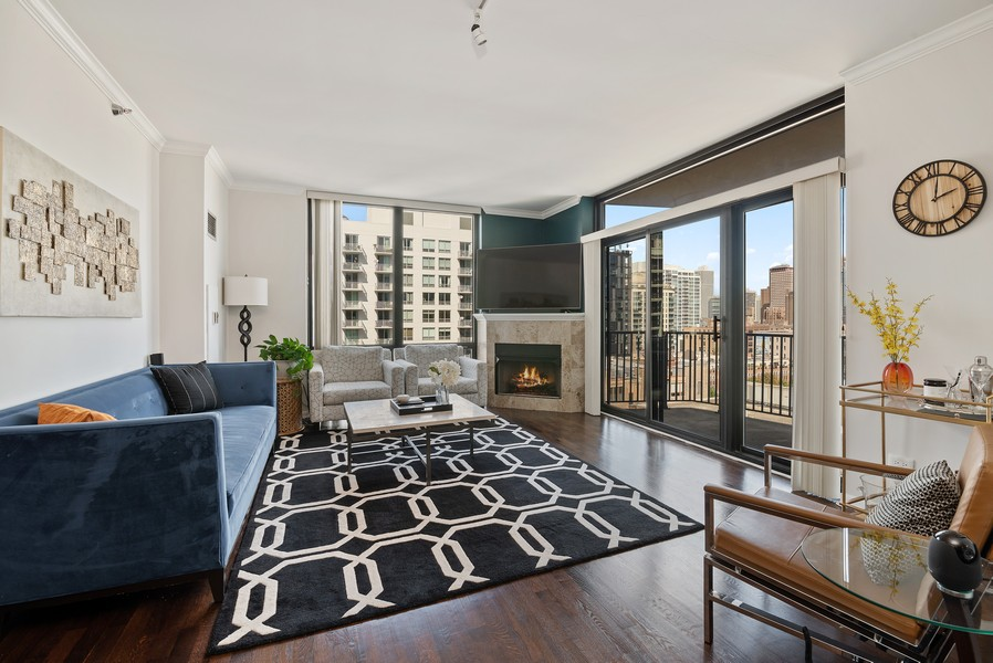 Real Estate Photography - 435 W Erie St, Unit 1102, Chicago, IL, 60654 - Living Room