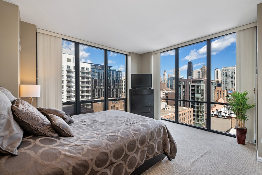 Real Estate Photography - 435 W Erie St, Unit 1102, Chicago, IL, 60654 - Master Bedroom