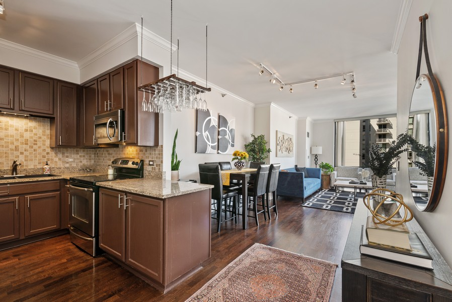 Real Estate Photography - 435 W Erie St, Unit 1102, Chicago, IL, 60654 - Great room