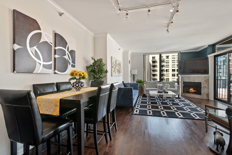 Real Estate Photography - 435 W Erie St, Unit 1102, Chicago, IL, 60654 - Living Room / Dining Room