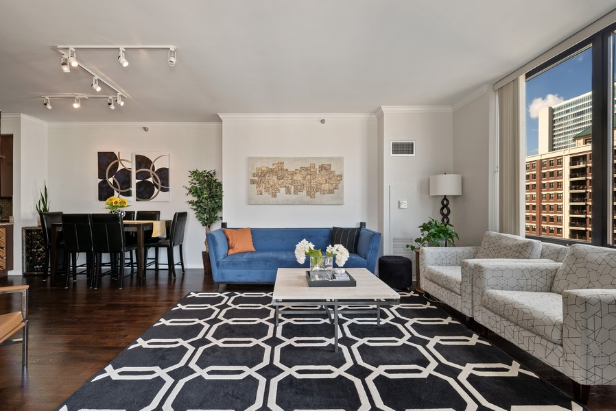 Real Estate Photography - 435 W Erie St, Unit 1102, Chicago, IL, 60654 - Living Room/Dining Room