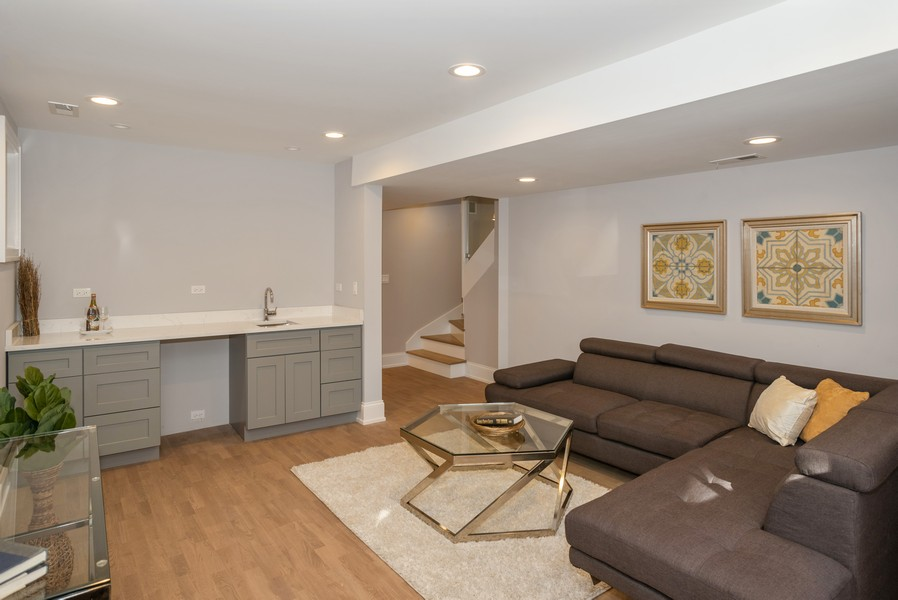 Real Estate Photography - 3622 N Albany Avenue, Chicago, IL, 60618 - Recreation Room with Wet Bar