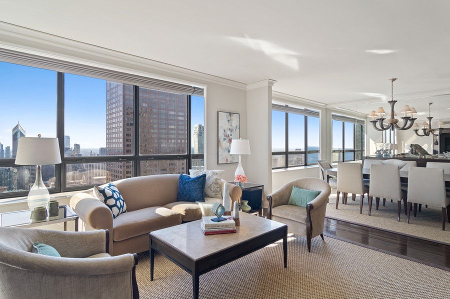 Real Estate Photography - 180 E Pearson St., Apt. 5006, Chicago, IL, 60611 - Living Room / Dining Room