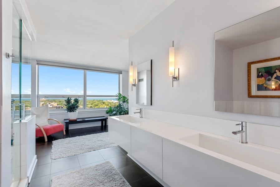 Real Estate Photography - 807 Davis Unit 1705, Evanston, IL, 60201 - Custom Master Bath with Gorgeous Views