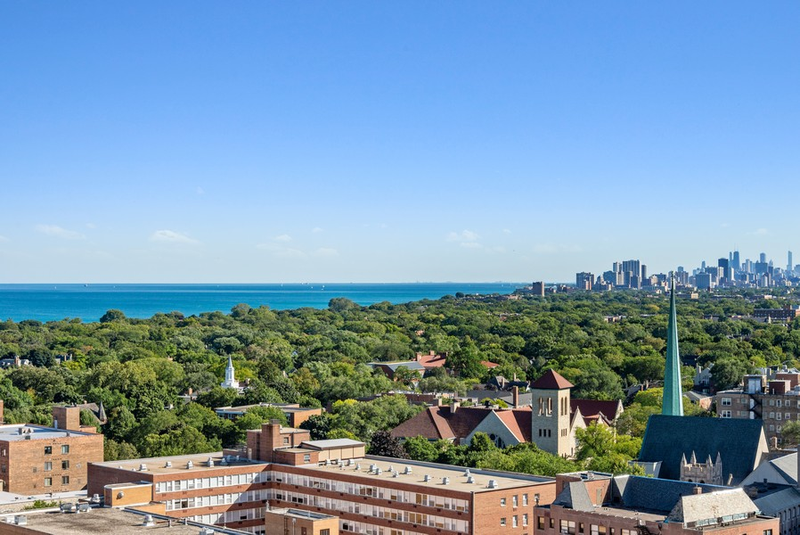 Real Estate Photography - 807 Davis Unit 1705, Evanston, IL, 60201 - View From Balcony Off Kitchen