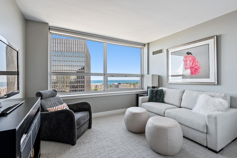 Real Estate Photography - 807 Davis Unit 1705, Evanston, IL, 60201 - 4th Bedroom used as Den, with Lake Views