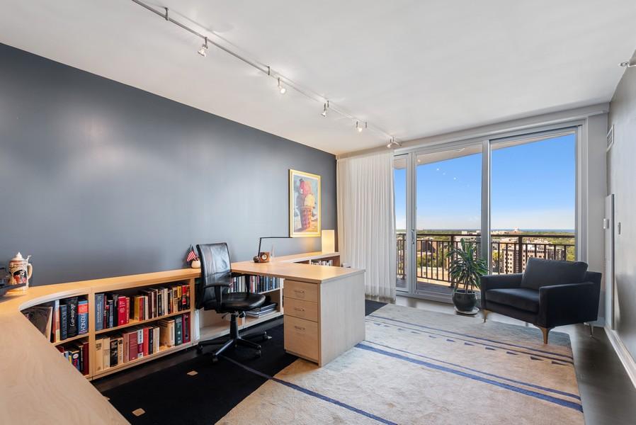 Real Estate Photography - 807 Davis Unit 1705, Evanston, IL, 60201 - 3rd Bedrm/Office w/Balcony, Lake & North Views