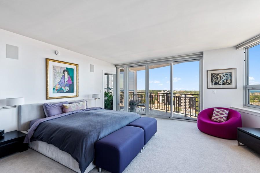 Real Estate Photography - 807 Davis Unit 1705, Evanston, IL, 60201 - Master w/Panoramic Lake & North Views