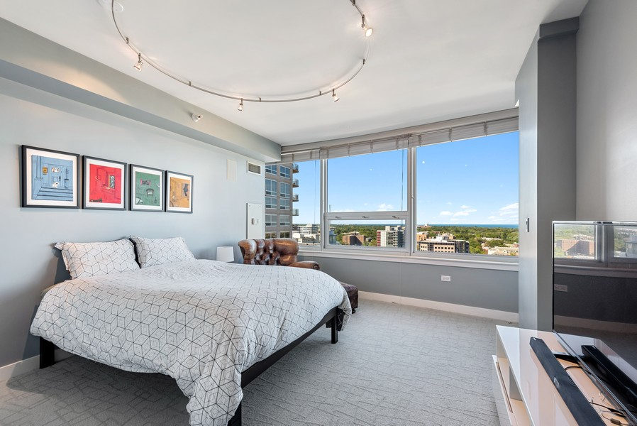 Real Estate Photography - 807 Davis Unit 1705, Evanston, IL, 60201 - 2nd Bedroom with Lake &  North Views