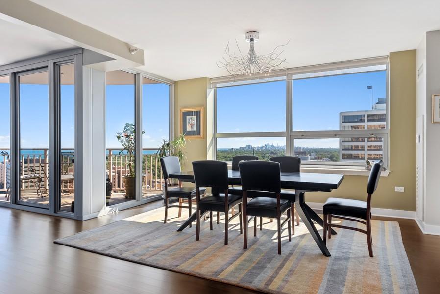 Real Estate Photography - 807 Davis Unit 1705, Evanston, IL, 60201 - Dining Room w/Scenic Skyline & Lake Views
