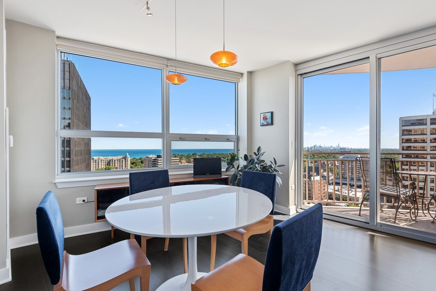 Real Estate Photography - 807 Davis Unit 1705, Evanston, IL, 60201 - Breakfast Room with Lake Views