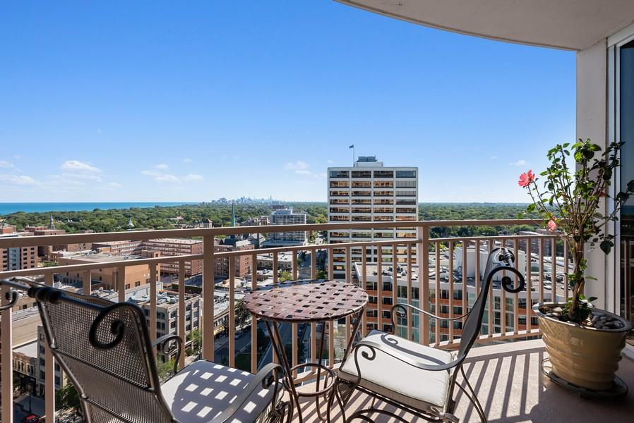 Real Estate Photography - 807 Davis Unit 1705, Evanston, IL, 60201 - Balcony off Kitchen w/City & Lake Views