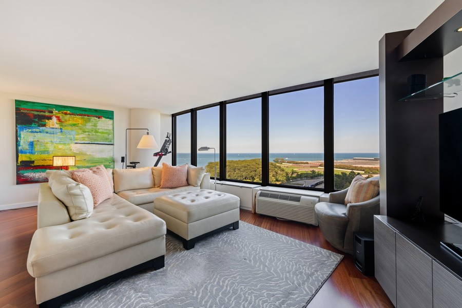 Real Estate Photography - 505 N Lake Shore Drive, #907, Chicago, IL, 60611 - Living Room