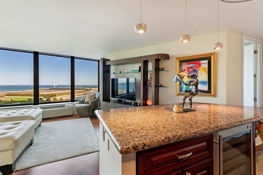Real Estate Photography - 505 N Lake Shore Drive, #907, Chicago, IL, 60611 - Kitchen / Living Room